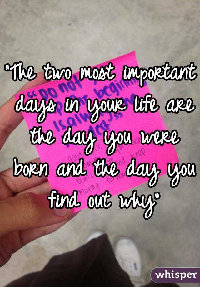 the three most important things in your life