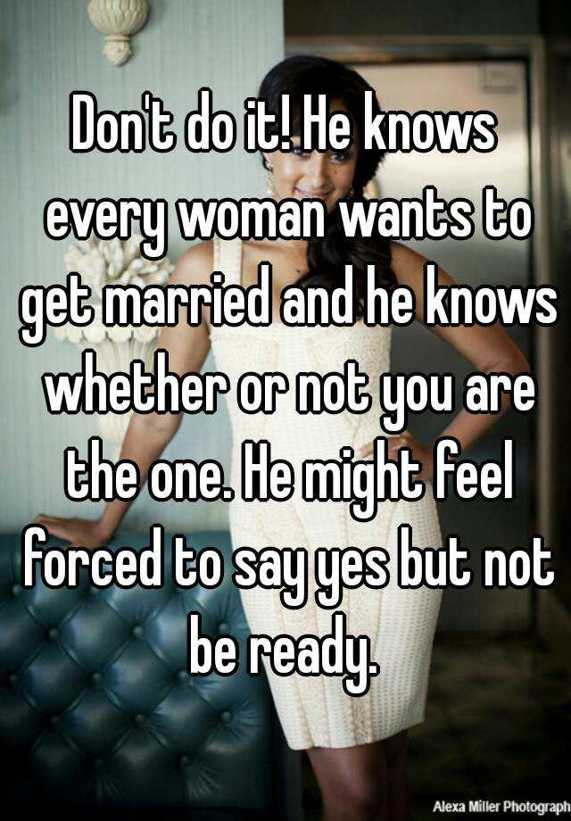 why dont men want to get married