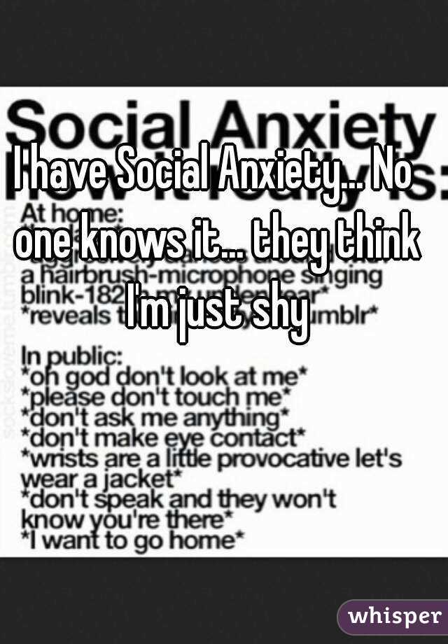 I have Social Anxiety... No one knows it... they think I'm just shy