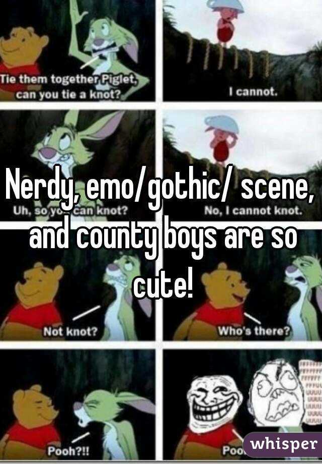Nerdy, emo/gothic/ scene, and county boys are so cute!