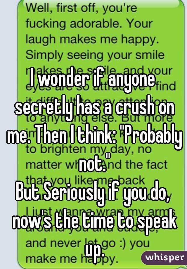 I wonder if anyone secretly has a crush on me  Then I think