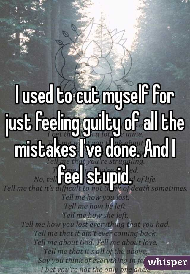 I used to cut myself for just feeling guilty of all the mistakes I've done. And I feel stupid.
