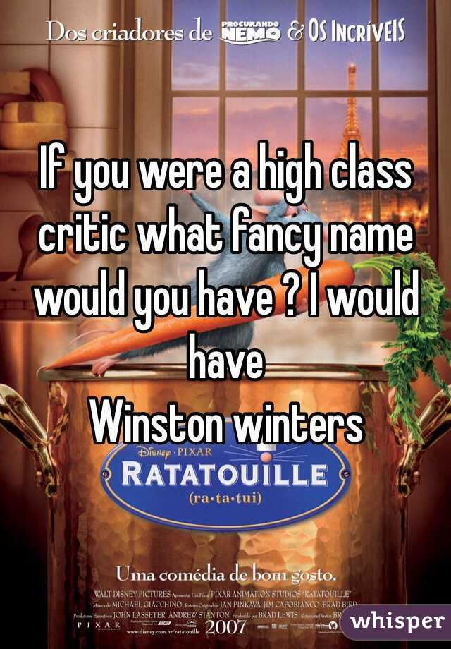 If you were a high class critic what fancy name would you have ? I would have  Winston winters