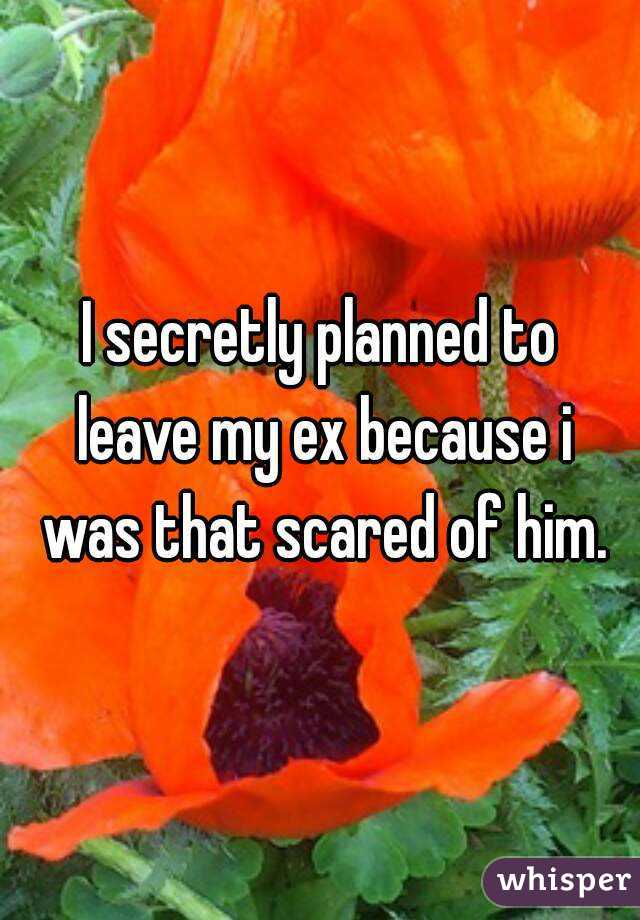 I secretly planned to leave my ex because i was that scared of him.