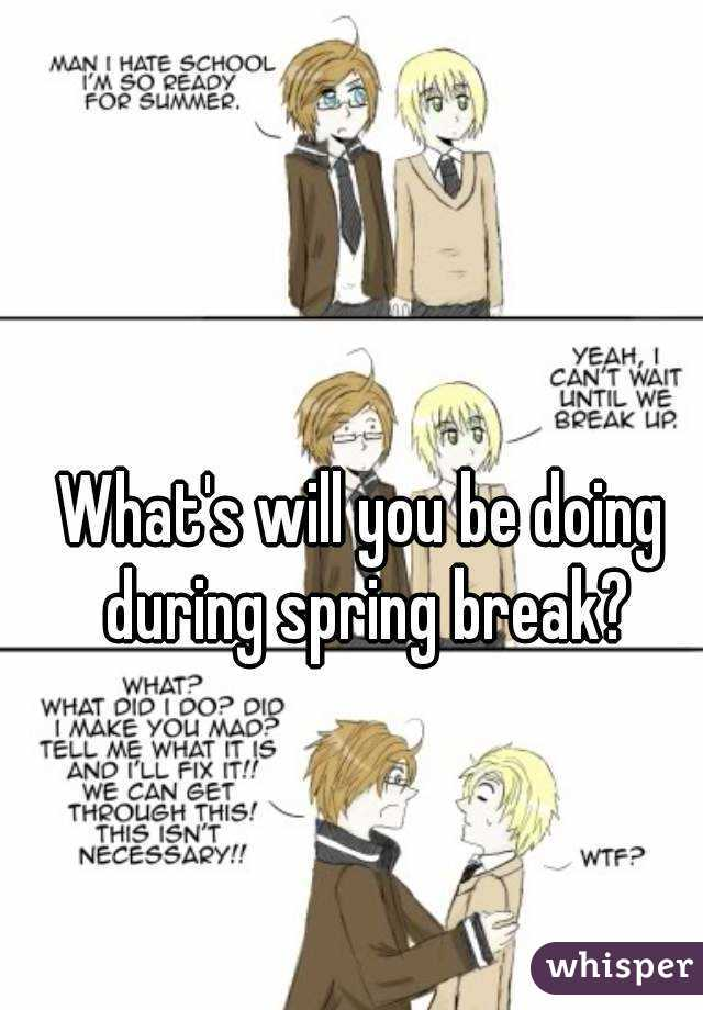 What's will you be doing during spring break?