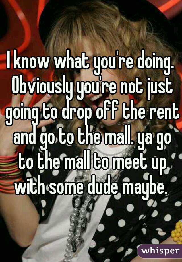 I know what you're doing. Obviously you're not just going to drop off the rent and go to the mall. ya go to the mall to meet up with some dude maybe.