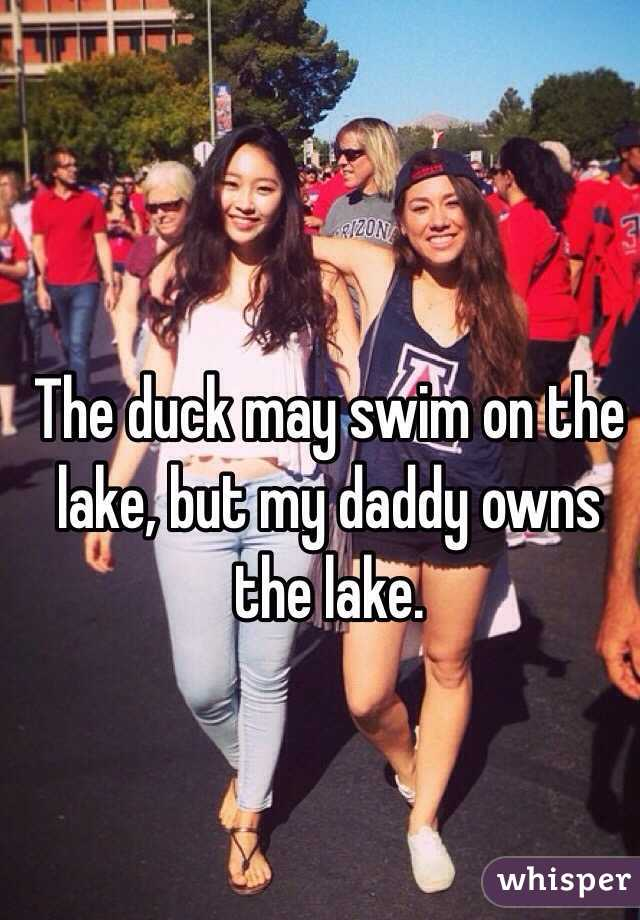 The duck may swim on the lake, but my daddy owns the lake.