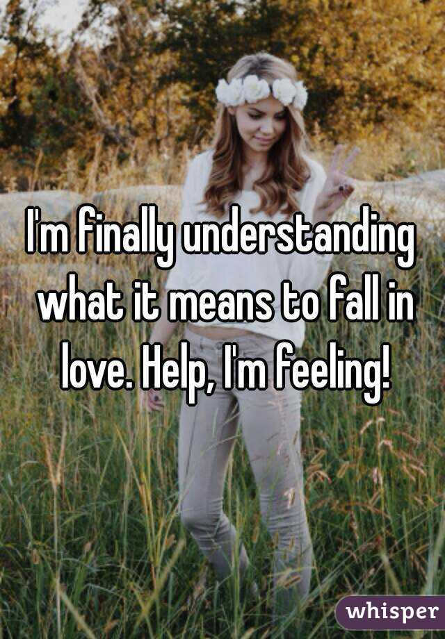 I'm finally understanding what it means to fall in love. Help, I'm feeling!