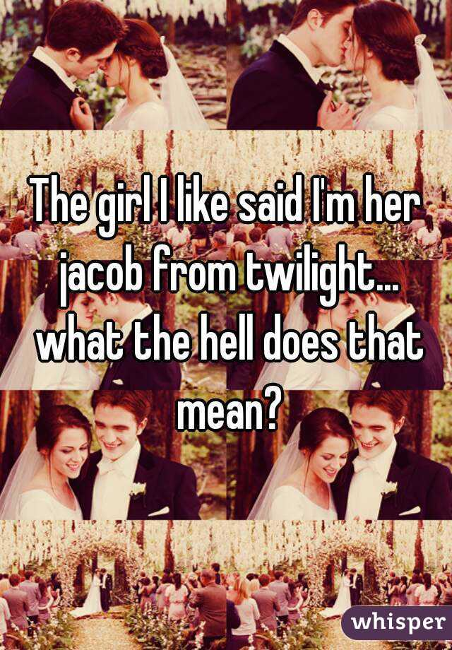 The girl I like said I'm her jacob from twilight... what the hell does that mean?