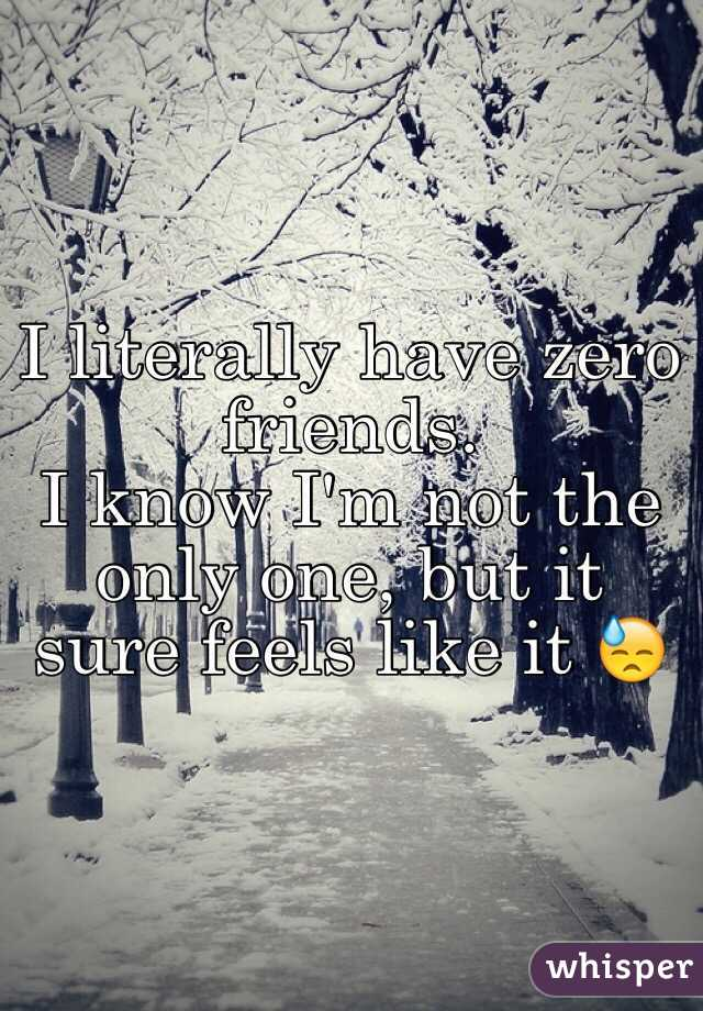 I literally have zero friends. I know I'm not the only one, but it sure feels like it 😓