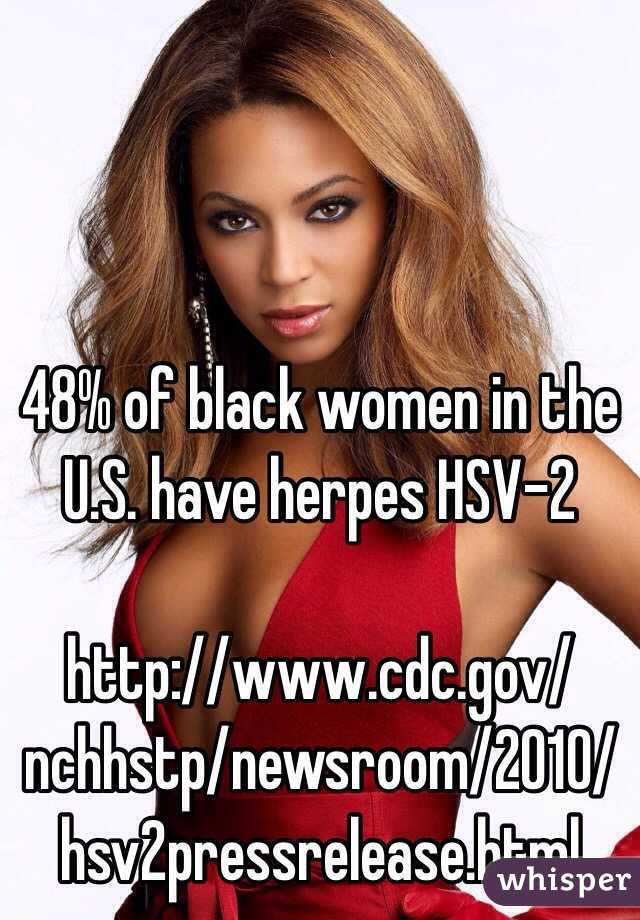 48% of black women in the U.S. have herpes HSV-2  http://www.cdc.gov/nchhstp/newsroom/2010/hsv2pressrelease.html