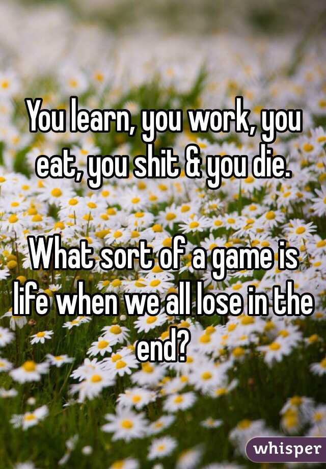You learn, you work, you eat, you shit & you die.  What sort of a game is life when we all lose in the end?