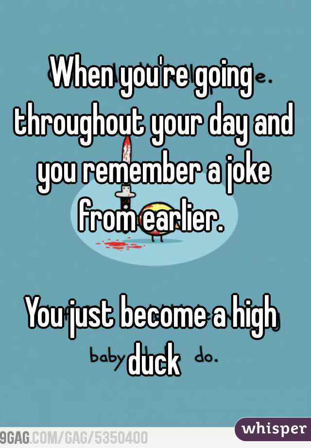 When you're going throughout your day and you remember a joke from earlier.   You just become a high duck