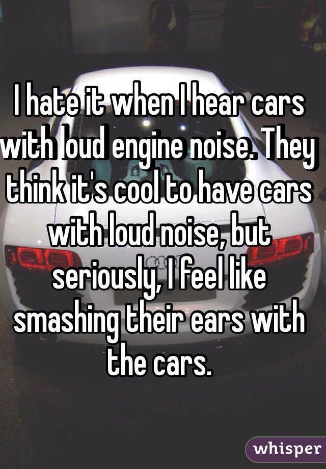 I hate it when I hear cars with loud engine noise  They