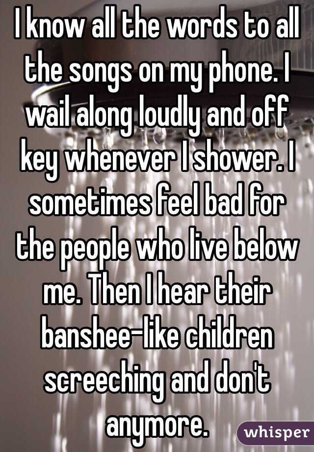 I know all the words to all the songs on my phone. I wail along loudly and off key whenever I shower. I sometimes feel bad for the people who live below me. Then I hear their banshee-like children screeching and don't anymore.