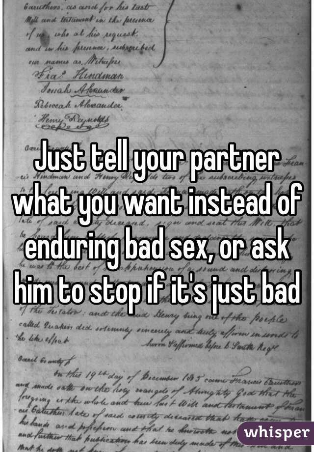 Bad sex partner