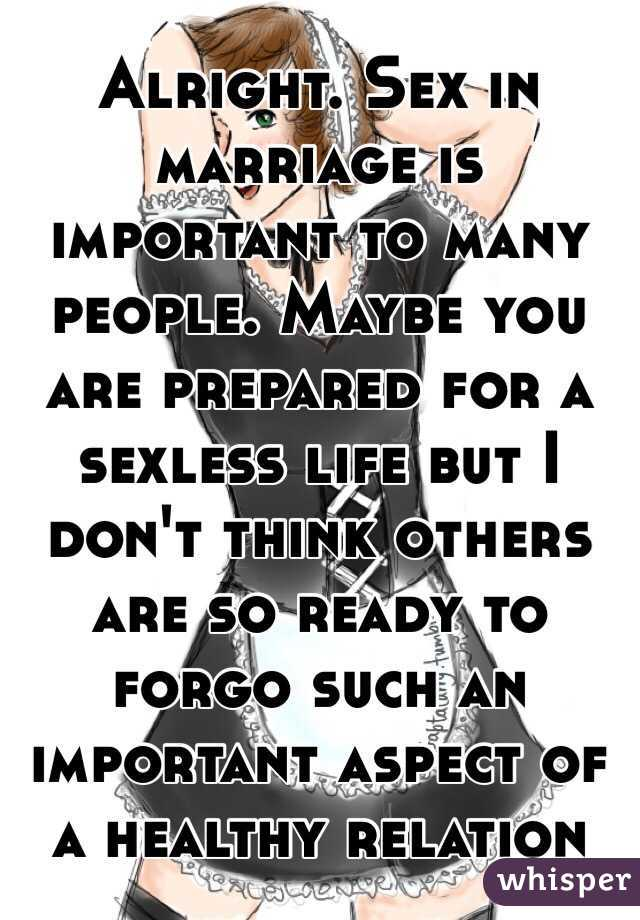Sex is very important in marriage life