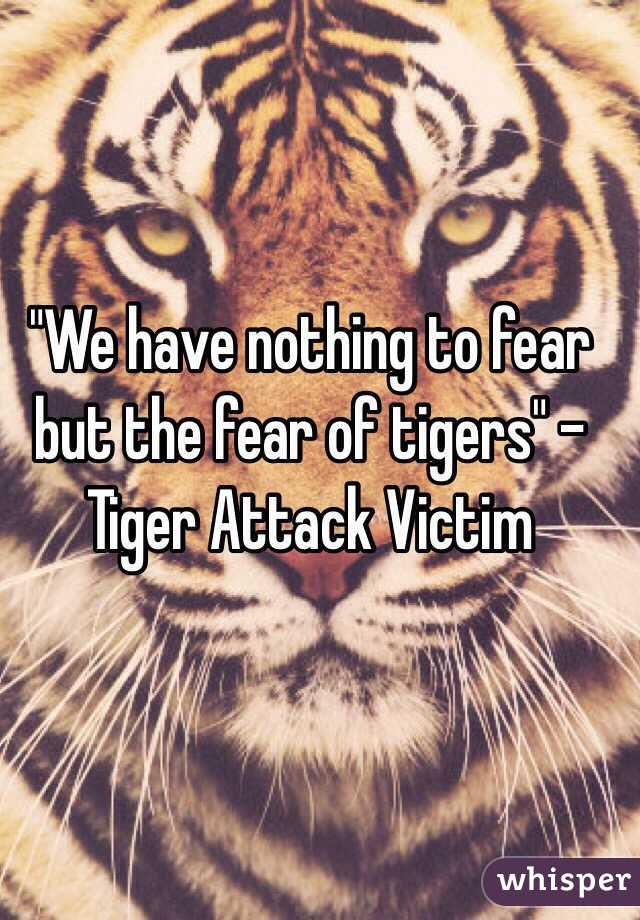 """""""We have nothing to fear but the fear of tigers"""" - Tiger Attack Victim"""