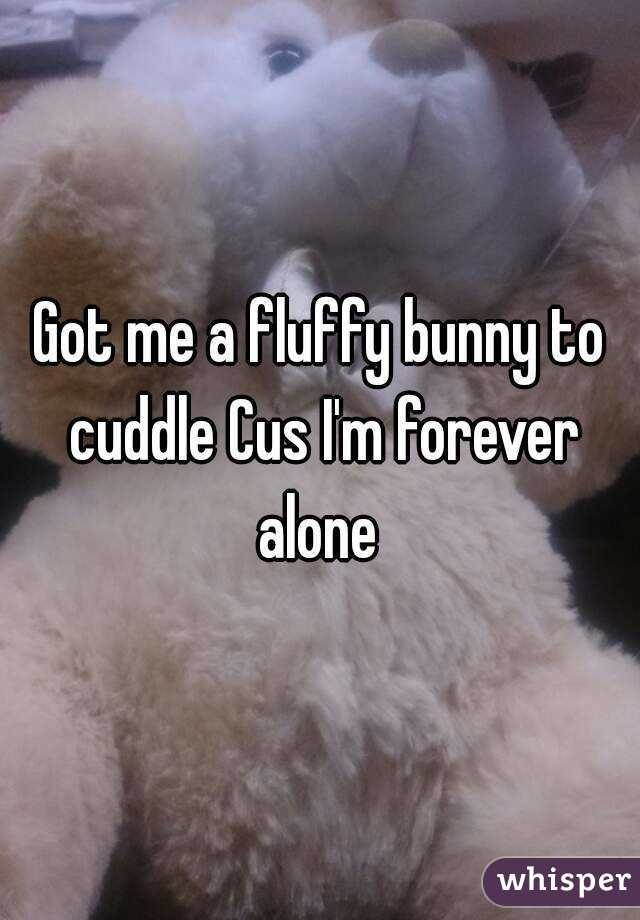 Got me a fluffy bunny to cuddle Cus I'm forever alone