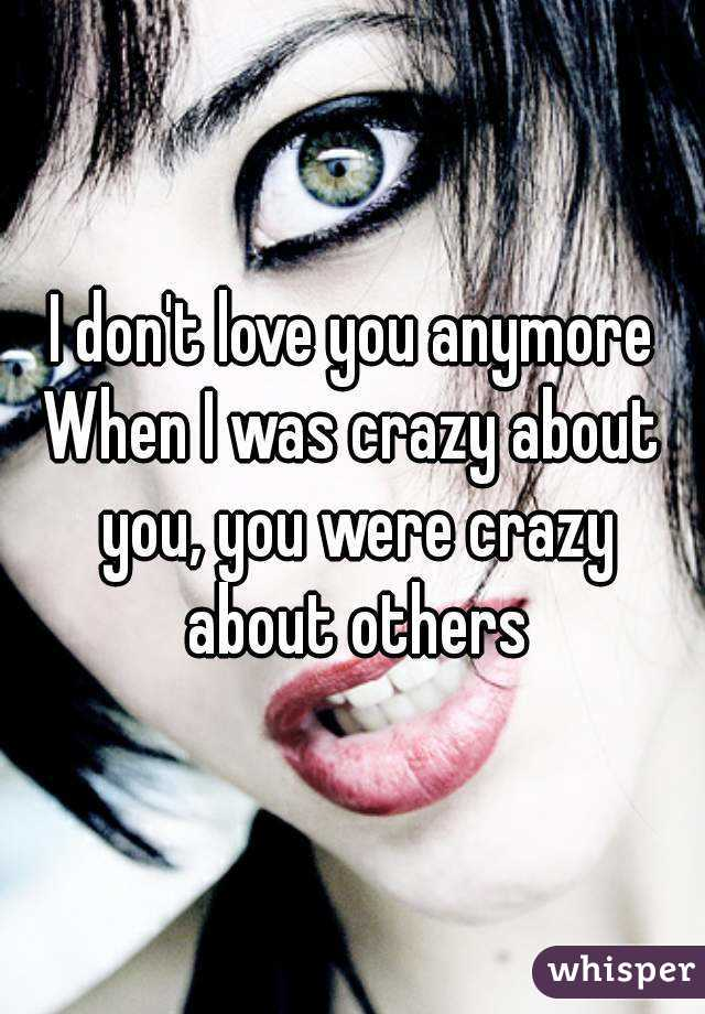 I don't love you anymore When I was crazy about you, you were crazy about others