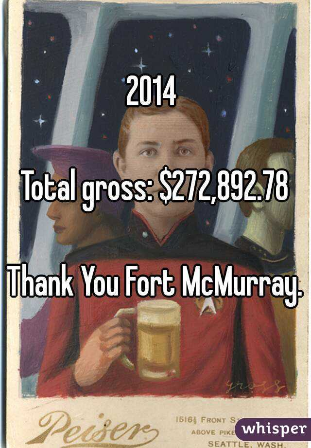 2014   Total gross: $272,892.78  Thank You Fort McMurray.