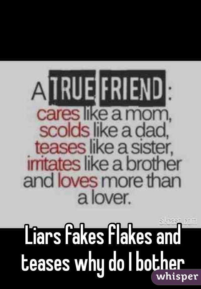 Liars fakes flakes and teases why do I bother