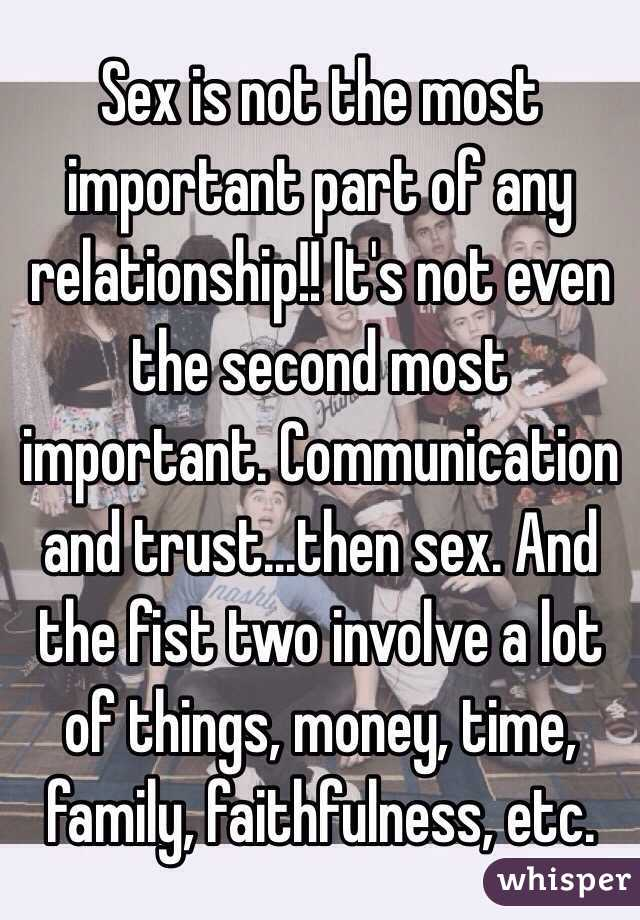 Is sex the most important thing in a relationship
