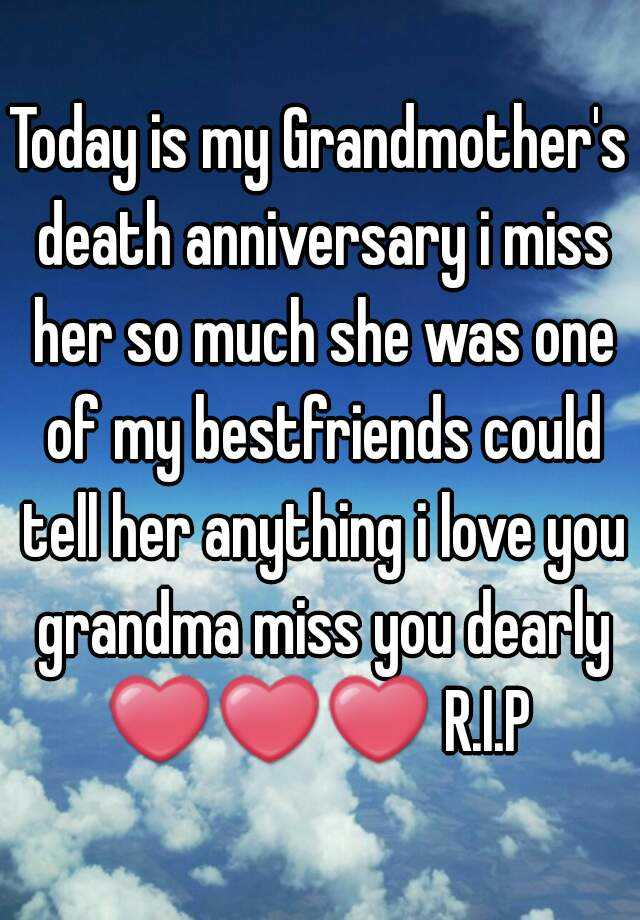 the death of my grandmother a I am sorry for your loss it's never easy after i lost my grandmother, my mother and my daughter, i spent a lot of time researching death and grief i found that finding tangible things to do in their memories helped me a lot i made scrapbooks of all three and i'm writing a book about the .