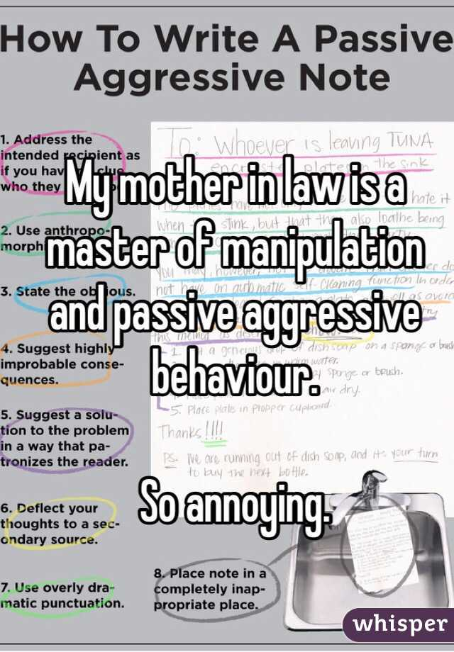 Dealing with manipulative mother in law