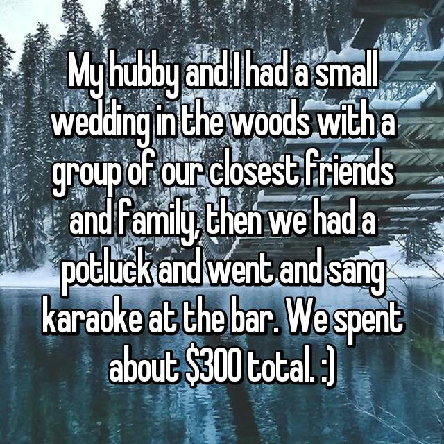 My hubby and I had a small wedding in the woods with a group of our closest friends and family, then we had a potluck and went and sang karaoke at the bar. We spent about $300 total. :)