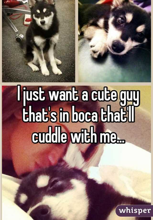 I just want a cute guy that's in boca that'll cuddle with me...