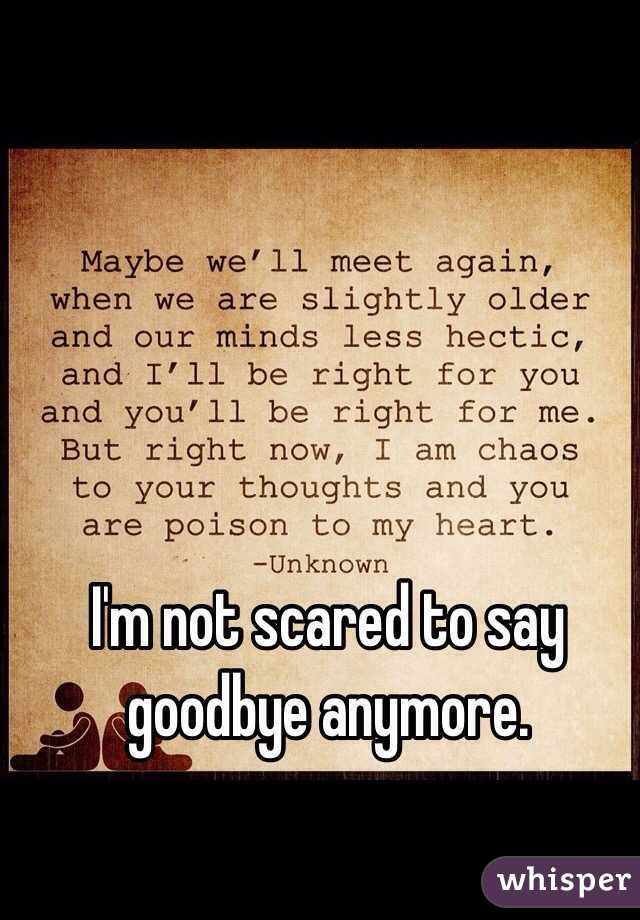 I'm not scared to say goodbye anymore.