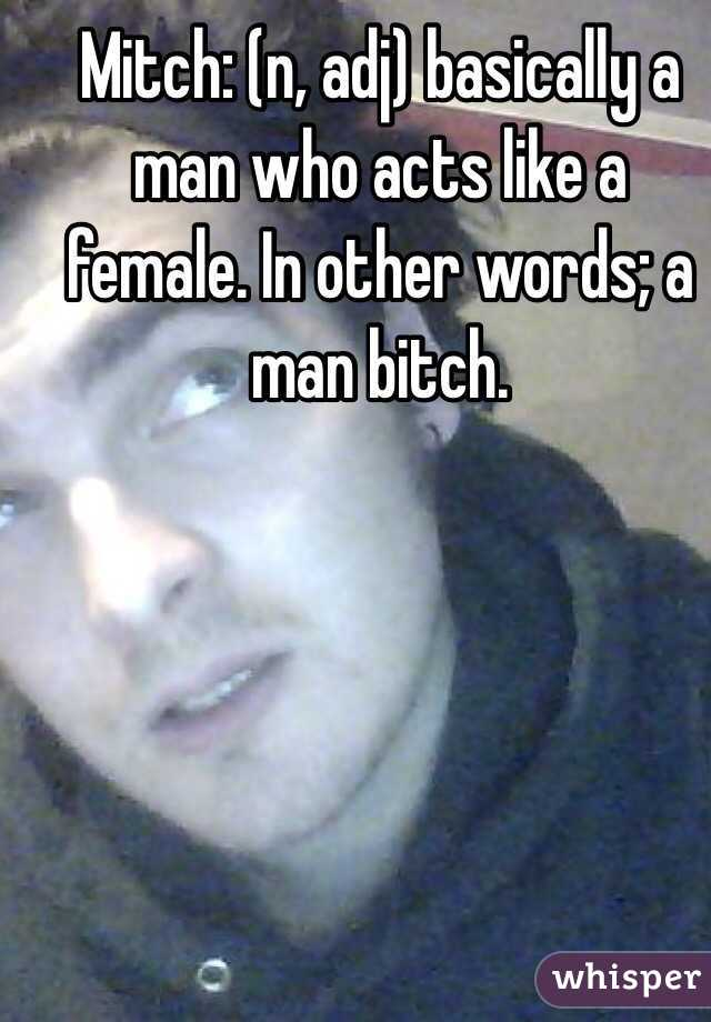 Mitch: (n, adj) basically a man who acts like a female. In other words; a man bitch.