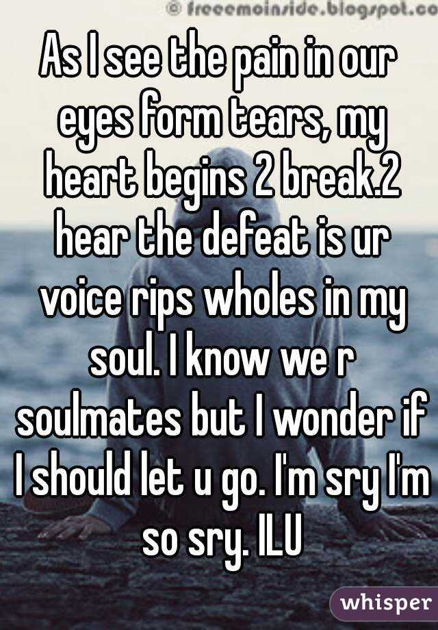 As I see the pain in our eyes form tears, my heart begins 2 break.2 hear the defeat is ur voice rips wholes in my soul. I know we r soulmates but I wonder if I should let u go. I'm sry I'm so sry. ILU