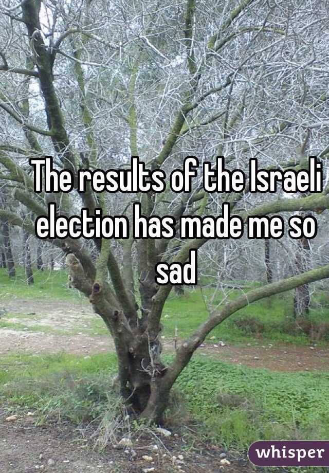 The results of the Israeli election has made me so sad