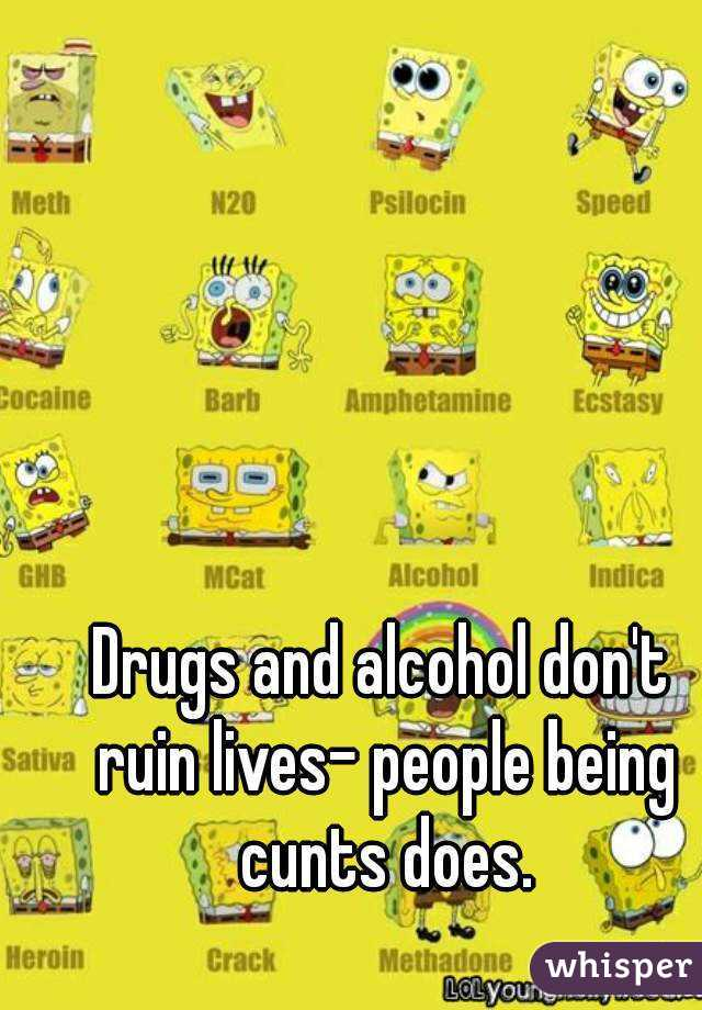 Drugs and alcohol don't ruin lives- people being cunts does.