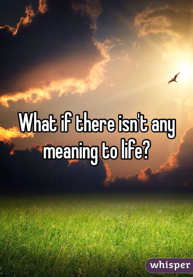 What if there isn't any meaning to life?