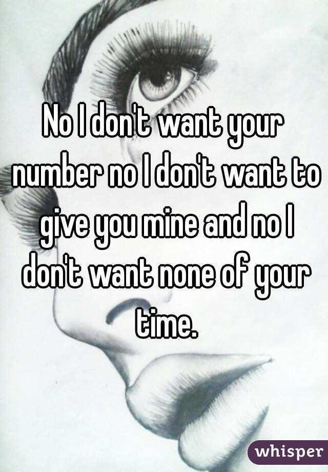 No I don't want your number no I don't want to give you mine and no I don't want none of your time.