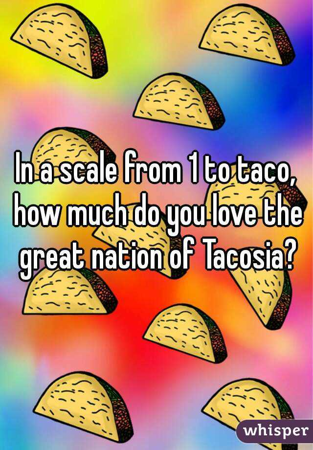 In a scale from 1 to taco, how much do you love the great nation of Tacosia?