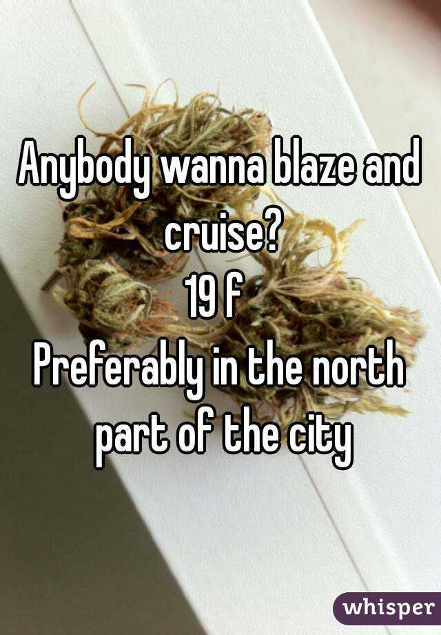 Anybody wanna blaze and cruise? 19 f  Preferably in the north part of the city