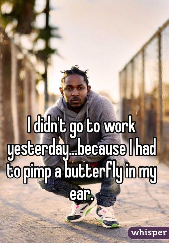 I didn't go to work yesterday...because I had to pimp a butterfly in my ear.
