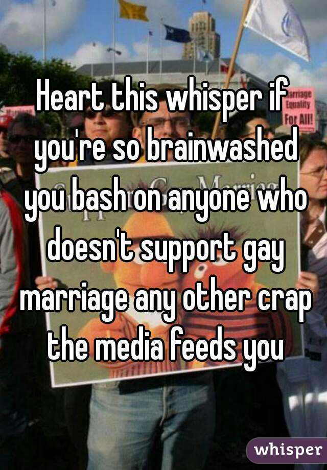Heart this whisper if you're so brainwashed you bash on anyone who doesn't support gay marriage any other crap the media feeds you