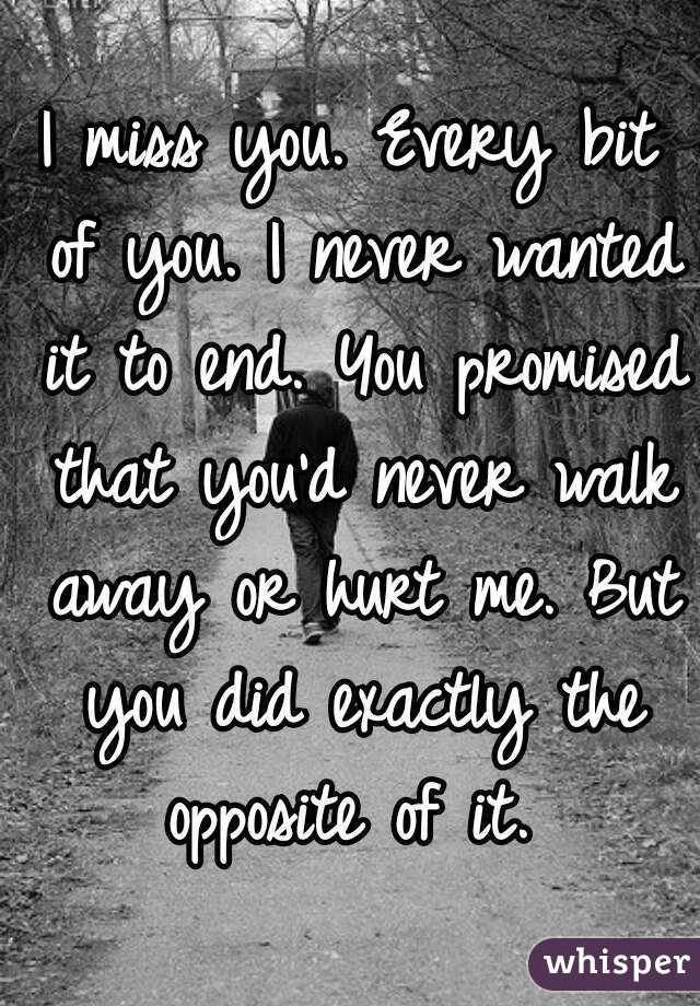 I miss you. Every bit of you. I never wanted it to end. You promised that you'd never walk away or hurt me. But you did exactly the opposite of it.