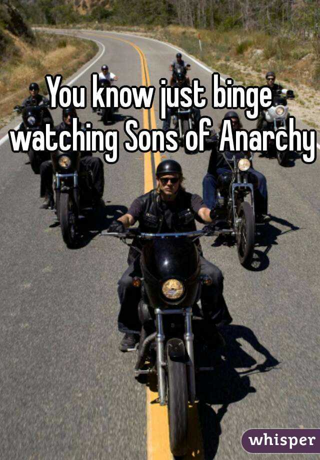 You know just binge watching Sons of Anarchy