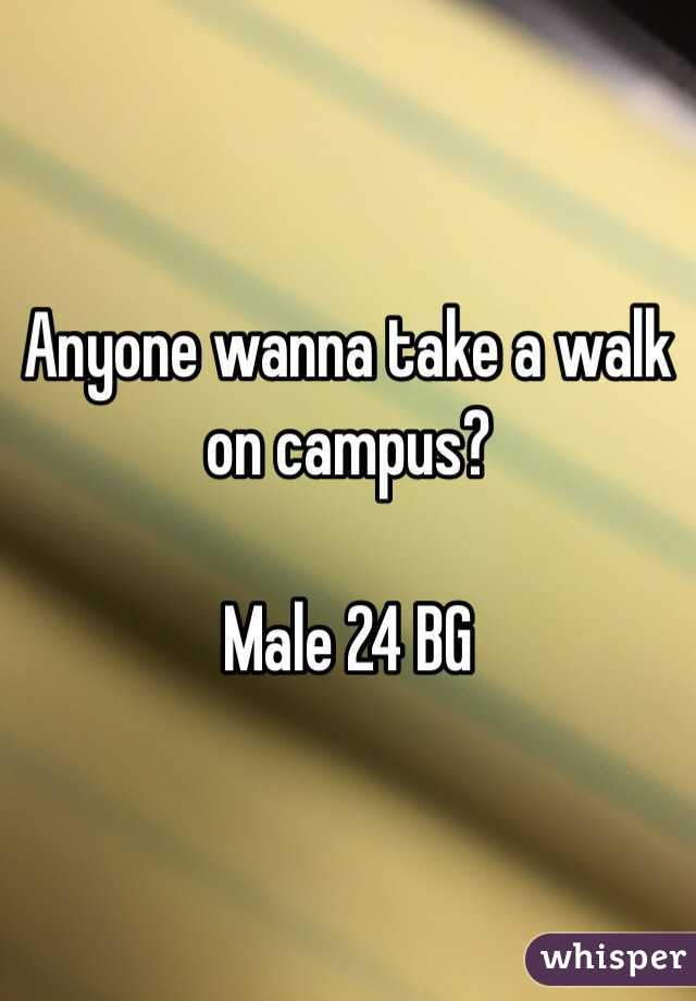 Anyone wanna take a walk on campus?   Male 24 BG