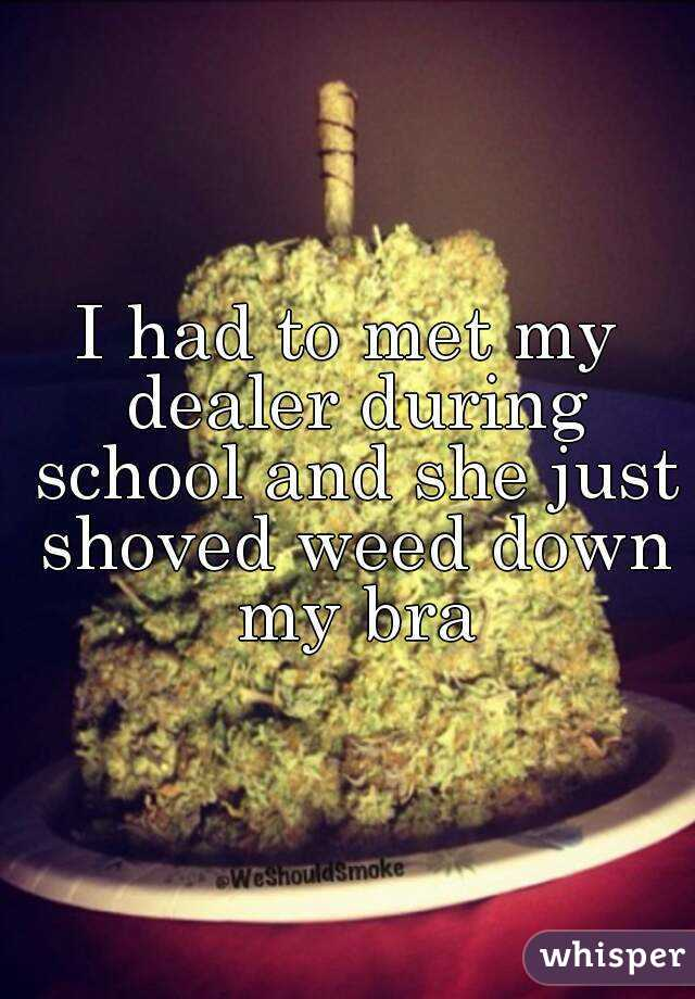 I had to met my dealer during school and she just shoved weed down my bra