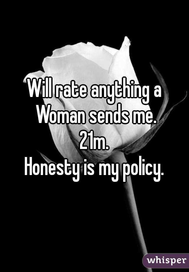 Will rate anything a Woman sends me. 21m. Honesty is my policy.