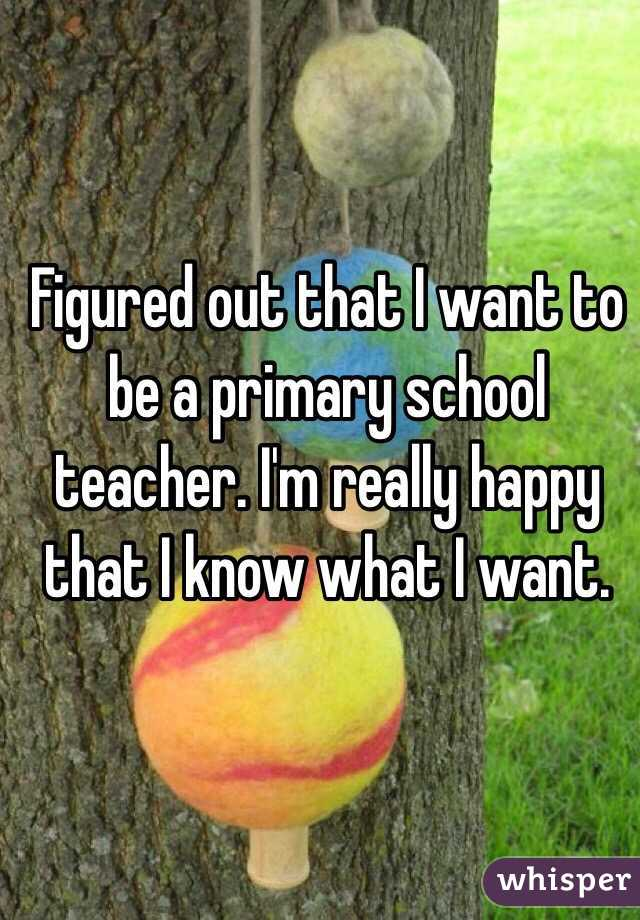 Figured out that I want to be a primary school teacher. I'm really happy that I know what I want.