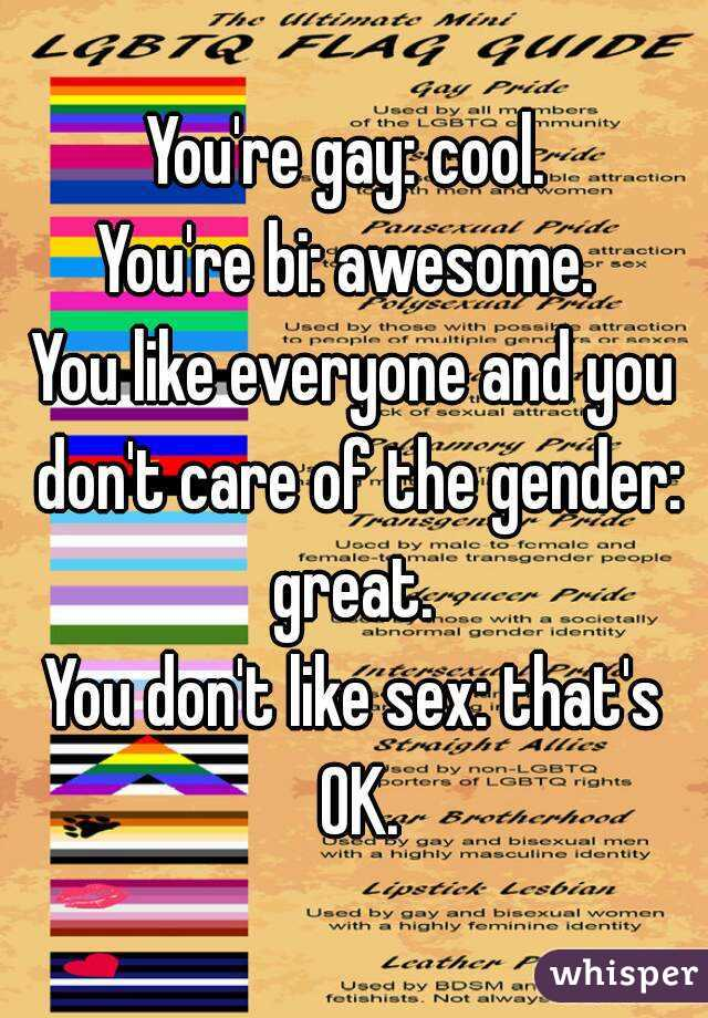 You're gay: cool.  You're bi: awesome.  You like everyone and you don't care of the gender: great.  You don't like sex: that's OK.