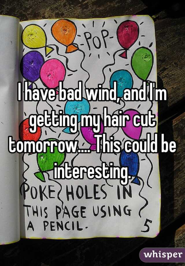 I have bad wind, and I'm getting my hair cut tomorrow.... This could be interesting.